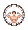 colorful border with half body muscle man vector image vector image