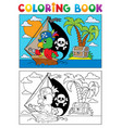 coloring book pirate parrot theme 3 vector image vector image