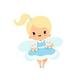 cute little tooth fairy flying with bateeth vector image vector image
