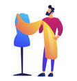 fashion clothes designer working on dress project vector image