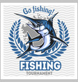 fishing emblem with blue marlin badge and design vector image
