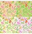 floral seamless backgrounds with nature elements vector image vector image