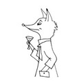 fox in a jacket with a glass of wine vector image vector image
