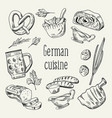 german traditional food hand drawn outline doodle vector image vector image