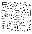 hand drawn arrows set on white background vector image vector image