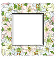 hand drawn tulip square frame vector image vector image