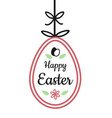 happy easter text sign on hanging easter egg with vector image vector image