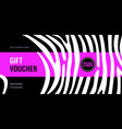 horizontal gift voucher white stripes on black vector image vector image