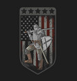 knight full armor sword and shield american flag vector image vector image