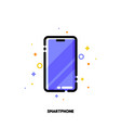 line icon of smartphone with huge display vector image vector image