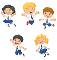 Little kids smiling and jumping together vector image vector image