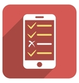 Mobile Test Flat Rounded Square Icon with Long vector image