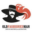 moustached man in old style wearing a top hat vector image vector image