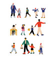 parents and their children walking to school in vector image vector image