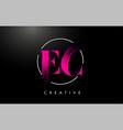 pink ec brush stroke letter logo design vector image vector image