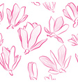 Pink Magnolia Flowers on a White Background vector image vector image