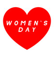 red heart for womens day with white fill caption vector image vector image
