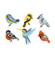 set different geometric birds vector image