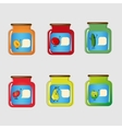Set jars with tinned vegetables and fruits vector image vector image