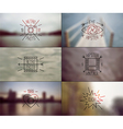 Set of hipster badges and blurred backgrounds vector image vector image