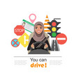 set of road symbols and driver arab businesswomen vector image vector image