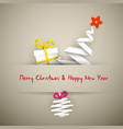 simple christmas card with gift tree and bauble vector image vector image