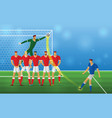 soccer player in action freekick on stadium vector image