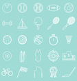 Sport line icons on green background vector image