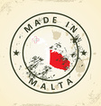 Stamp with map flag of Malta vector image