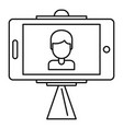 take photo selfie stick icon outline style vector image vector image