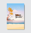 welcome summer landscape palm tree beach badge vector image vector image