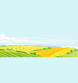 wheat fields panorama landscape background vector image vector image