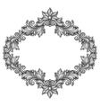 Baroque ornamental antique silver frame on white vector image