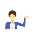 short hair business woman presenting vector image
