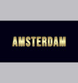 amsterdam city typography design greetings for vector image vector image