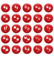 animal footprint icons set red