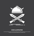 battle emblem viking warrior swords icon glyph vector image vector image