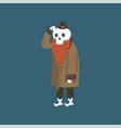 bearded human skeleton wearing warm coat dead man vector image vector image