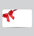 blank gift card template with red bow and ribbon vector image vector image