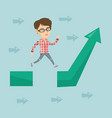 business woman jumping over gap on arrow going up vector image vector image