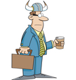 Cartoon Businessman Wearing a Viking Helmet vector image vector image