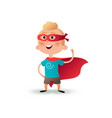 cartoon superhero boy standing with cape waving in vector image vector image