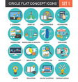 Circle Colorful Concept Icons Flat Design Set 1 vector image vector image