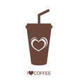 Coffee mug with heart vector image vector image