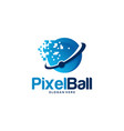 cool pixel ball logo designs concept technology vector image vector image