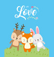 cute animals love card vector image