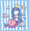 cute mermaid cartoons vector image