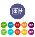 electric outlet icons set color vector image vector image