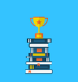 flat icons of heap textbooks and cup of award - vector image vector image