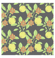 Fruits and flowers pattern vector image